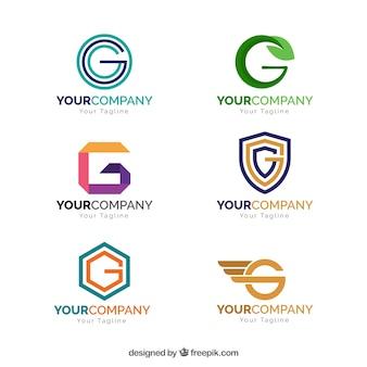 Coleção de logotipo geométrico da letra g