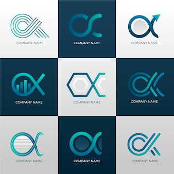 Coleção de logotipo gradiente alfa