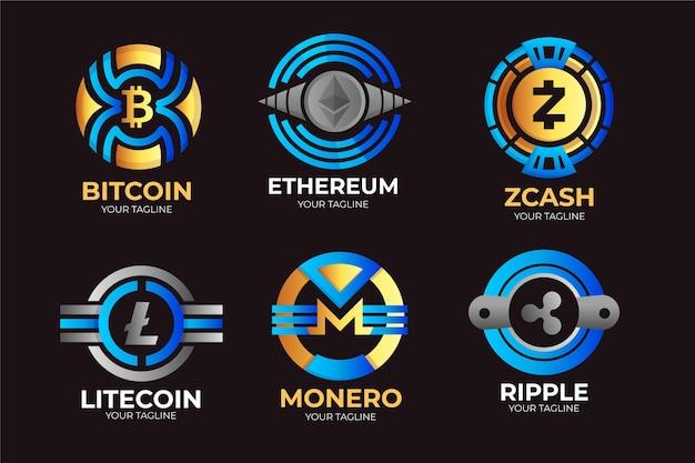 Coleção de logotipo gradiente de criptografia
