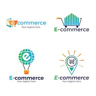 Coleção de logotipo gradiente de e-commerce