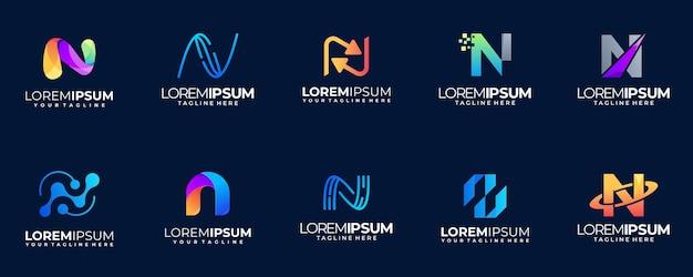 Coleção de logotipo gradiente de letra n
