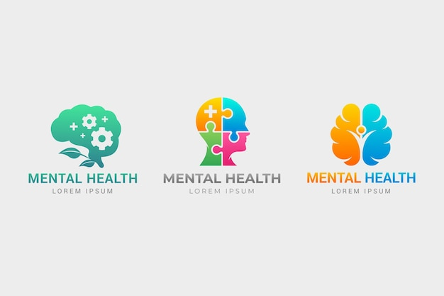 Coleção de logotipo gradiente de saúde mental