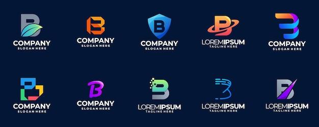 Coleção de logotipo gradiente letra b