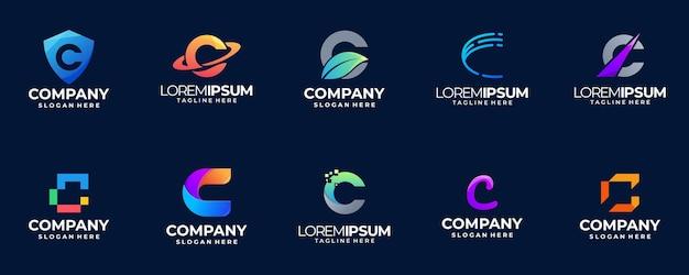 Coleção de logotipo gradiente letra c