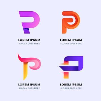 Coleção de logotipo gradiente p