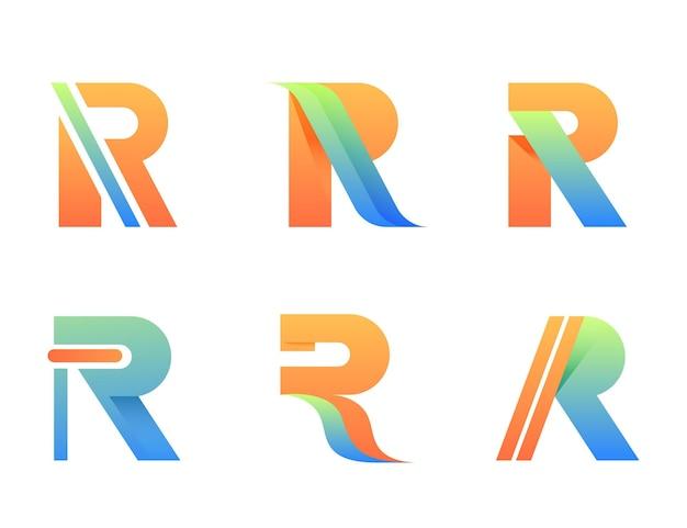 Coleção de logotipo gradiente r