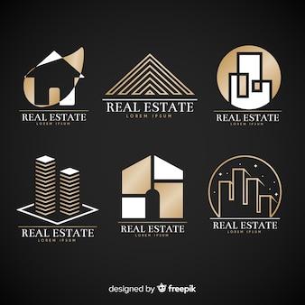 Coleção de logotipo imobiliário elegante