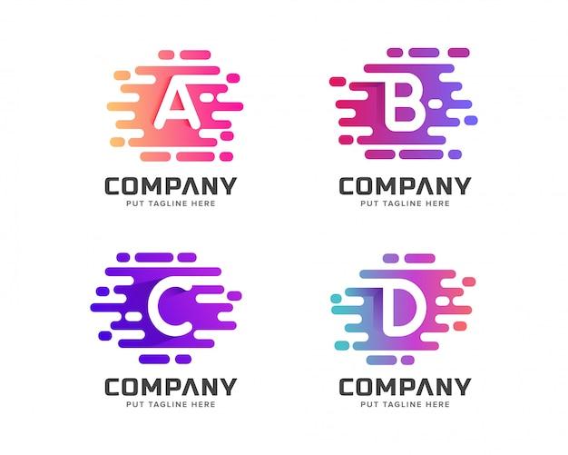 Coleção de logotipo inicial criativa letra colorida para negócios