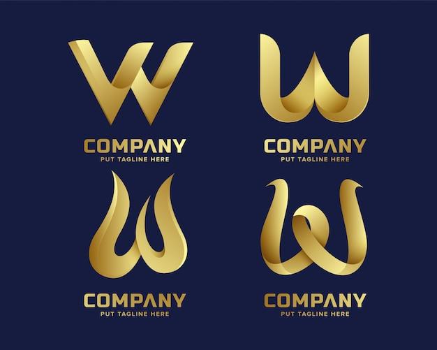 Coleção de logotipo inicial criativo w carta dourada