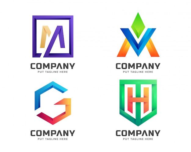 Coleção de logotipo inicial de carta colorida criativa