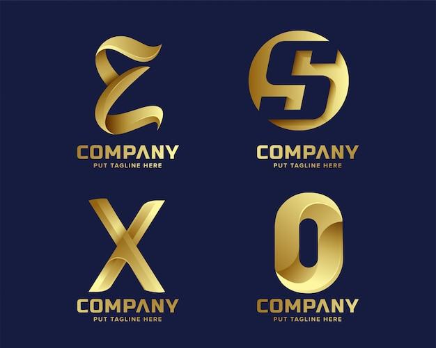 Coleção de logotipo inicial de carta criativa de negócios dourados