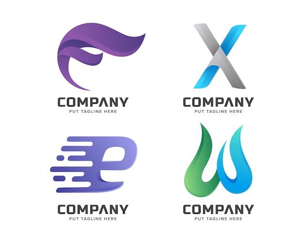 Coleção de logotipo inicial de carta criativa