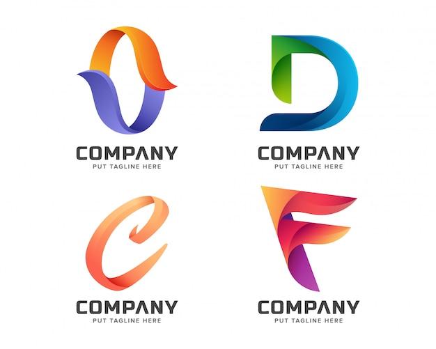 Coleção de logotipo inicial de letra colorida