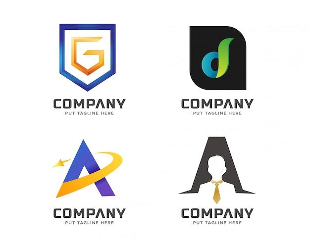 Coleção de logotipo inicial letra colorida