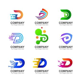 Coleção de logotipo inicial letra d