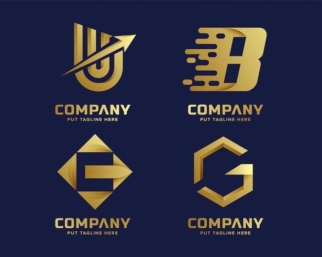 Coleção de logotipo inicial letra dourada