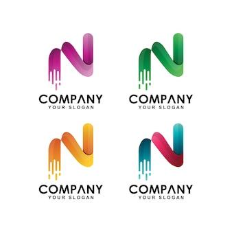 Coleção de logotipo inicial letra n