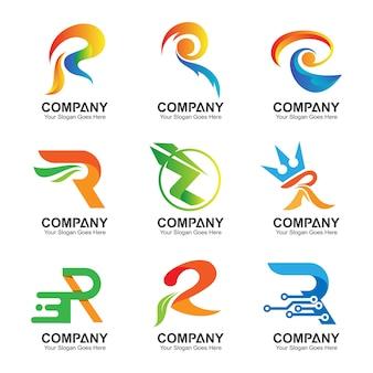 Coleção de logotipo inicial letra r