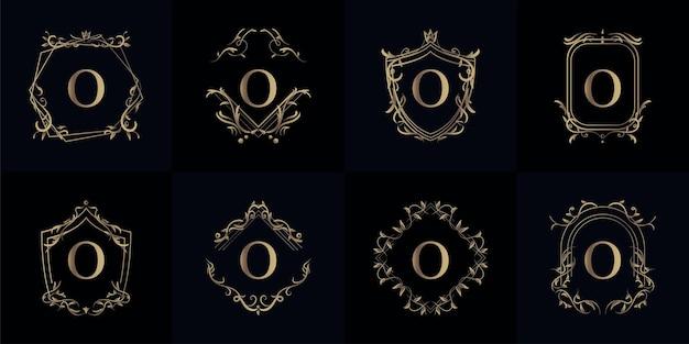 Coleção de logotipo inicial o com moldura de ornamento de luxo