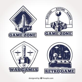 Coleção de logotipo joystick retrô com estilo elegante