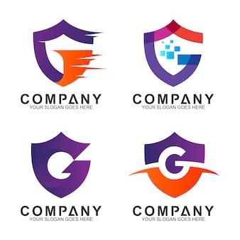 Coleção de logotipo letra g negócios escudo