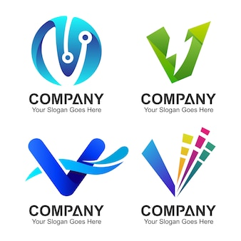 Coleção de logotipo letra v