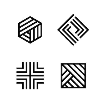 Coleção de logotipo linear abstrato