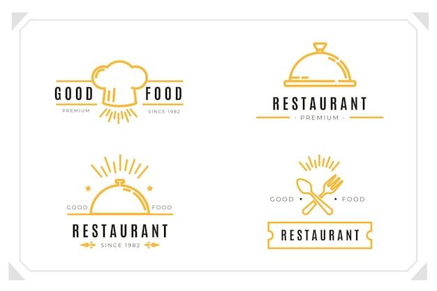 Coleção de logotipo linear de catering plano