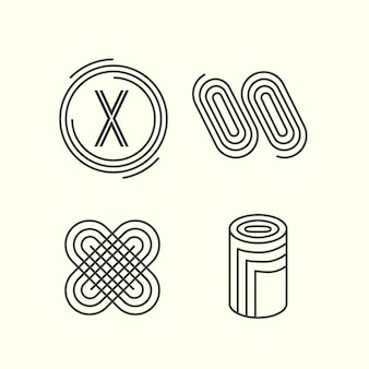 Coleção de logotipo linear de desenho abstrato