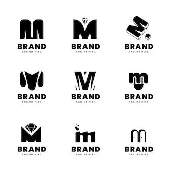 Coleção de logotipo m de design plano