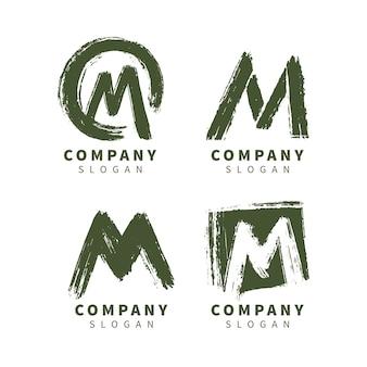 Coleção de logotipo m pintado à mão