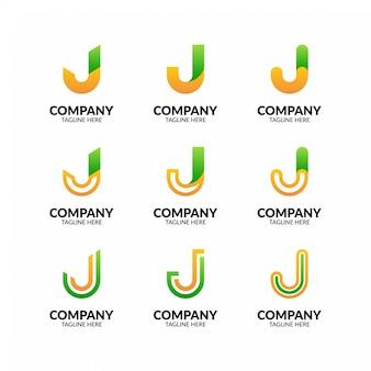 Coleção de logotipo minimalista letra j