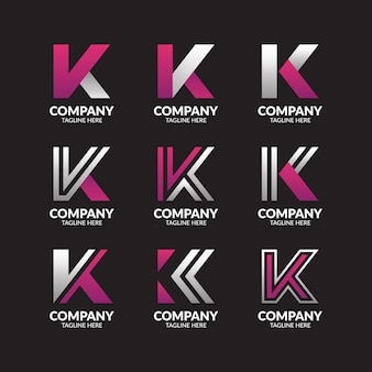 Coleção de logotipo minimalista letra k