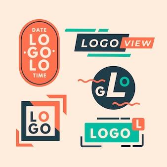Coleção de logotipo mínimo colorido em estilo retro