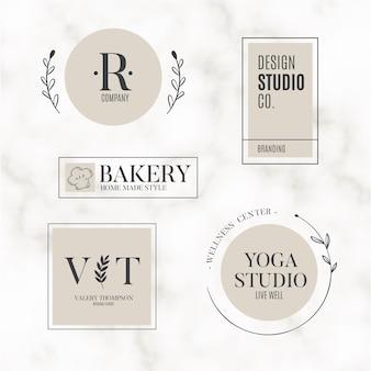 Coleção de logotipo mínimo de fundo de mármore