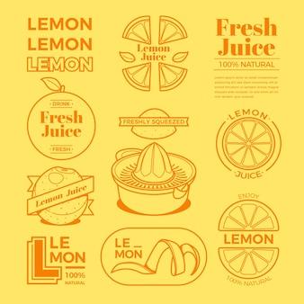 Coleção de logotipo mínimo de limão