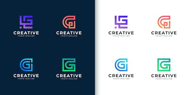 Coleção de logotipo moderno com monograma colorido com letra g para a empresa