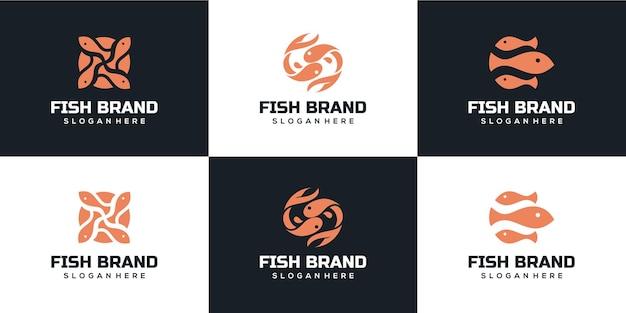 Coleção de logotipo moderno de peixes