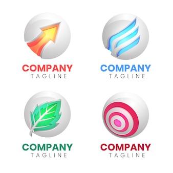 Coleção de logotipo moderno de três dimensões