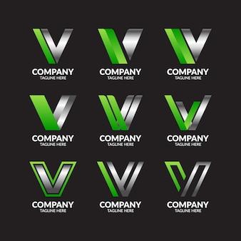 Coleção de logotipo moderno elegante letra v
