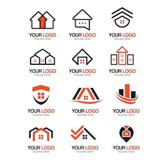 Coleção de logotipo moderno imobiliário