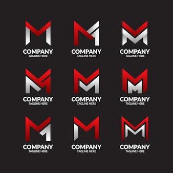 Coleção de logotipo moderno letra m