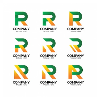 Coleção de logotipo moderno letra r