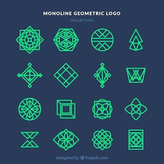 Coleção de logotipo monoline azul escuro