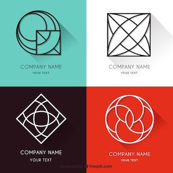 Coleção de logotipo monoline com sombras