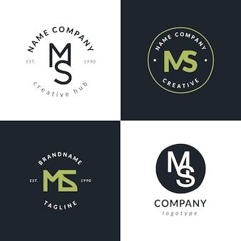 Coleção de logotipo ms de design plano