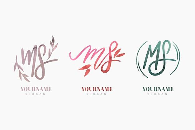 Coleção de logotipo ms pintada à mão
