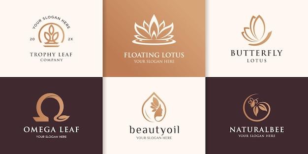 Coleção de logotipo natural, bonito, vegetal, animal
