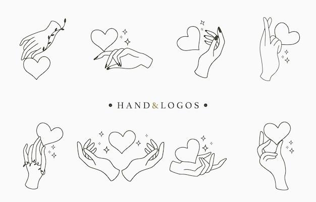 Coleção de logotipo oculto de beleza com mão, coração. ilustração para ícone, logotipo, adesivo, impressão e tatuagem