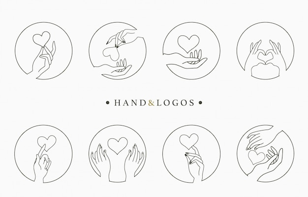 Coleção de logotipo oculto de beleza com mão, coração